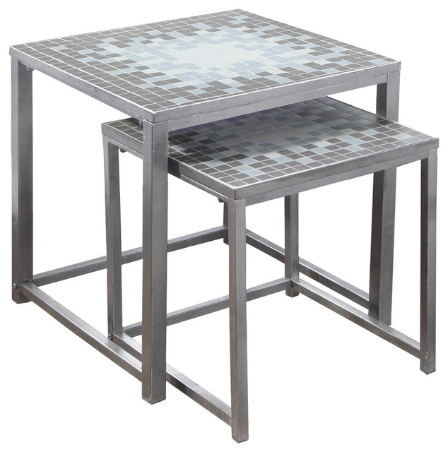 Nesting Table, 2 Piece Set, Gray, Blue Tile Top, Silver