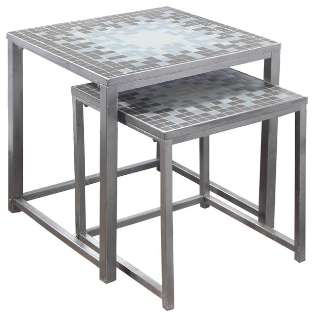 Nesting Table, 2-Piece Set, Gray, Blue Tile Top, Silver