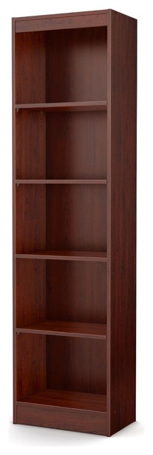 Contemporary Narrow Bookcase With 5 Shelves In Royal Cherry Finish.