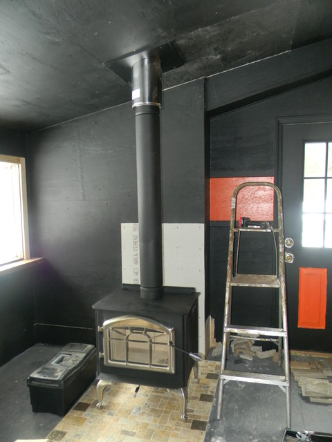 Black Stove Pipe/Chimney Pipe and Wood Stove - Traditional