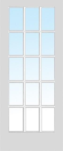 15 Lite True Divided Primed Interior Door Slab 28x80