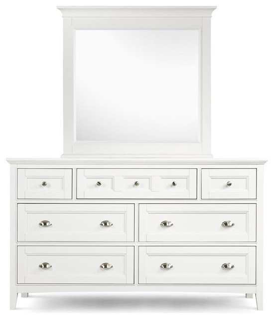 Dresser & Mirror Set In White, Kentwood Collection.