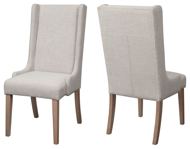 Baby Wing Back Upholstered Parson Dining Chairs, Set Of 2, Beige.