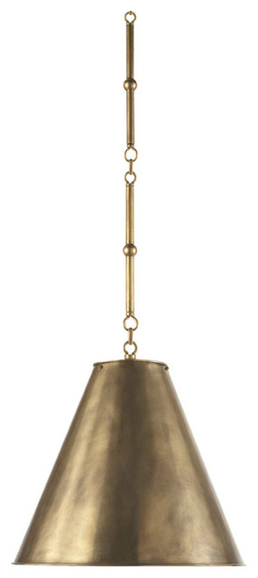 1-Light Hanging Shade, Hand-Rubbed Antique Brass, Antique Brass