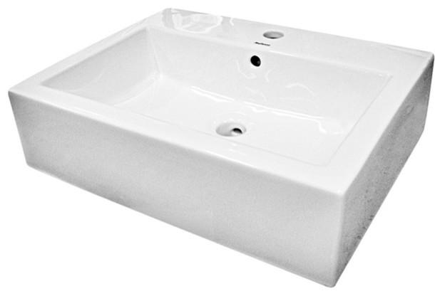 Vitreous China Rectangular Vessel Sink, White, 23.63.