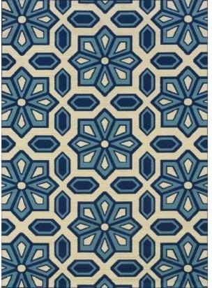 Blue Snowflake Indoor Outdoor Rug