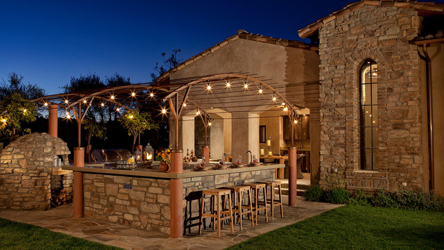 Rustic Stone Outdoor Kitchen Traditional San Diego