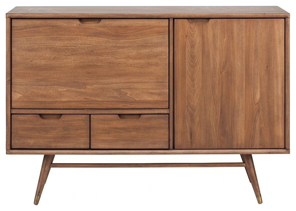 48 3 L Sideboard Dual Silverware Drawers Solid Walnut Stained
