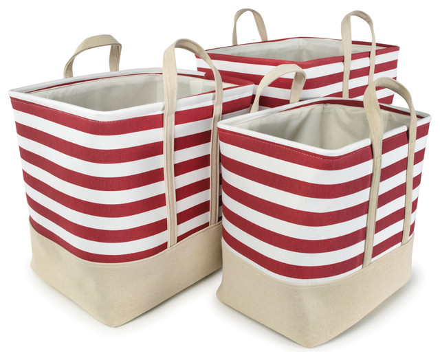 "Red Striped Cotton Canvas Nested Rect Hamper, Set Of 3, Large, 16""x12""x16""."