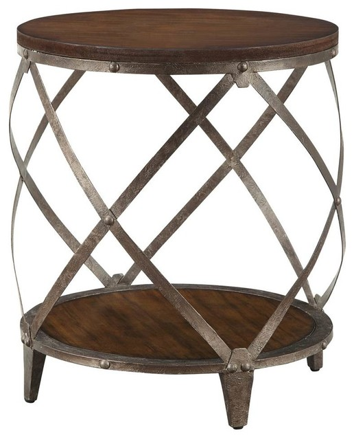 Coaster Contemporary Metal Accent Table With Drum Shape
