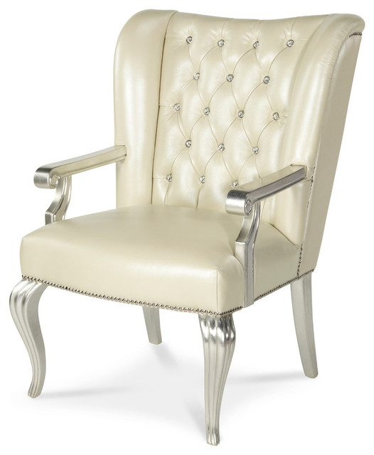 Aico Michael Amini Hollywood Swank Creamy Pearl Desk Chair  Traditional Office Chairs