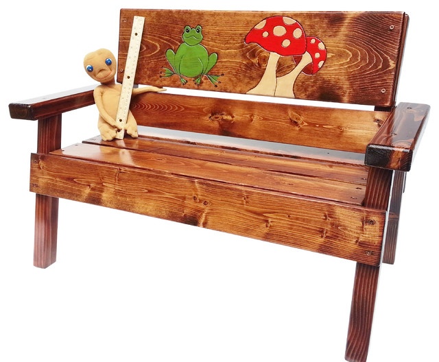 Swell Happy Garden Bench Engraved Frog And Mushroom Design Theyellowbook Wood Chair Design Ideas Theyellowbookinfo