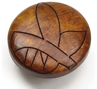 """1 3/8"""" Tonga Round Wood Knob - Cherry Leaf - Tropical - Cabinet And Drawer Knobs - by Laurey"""
