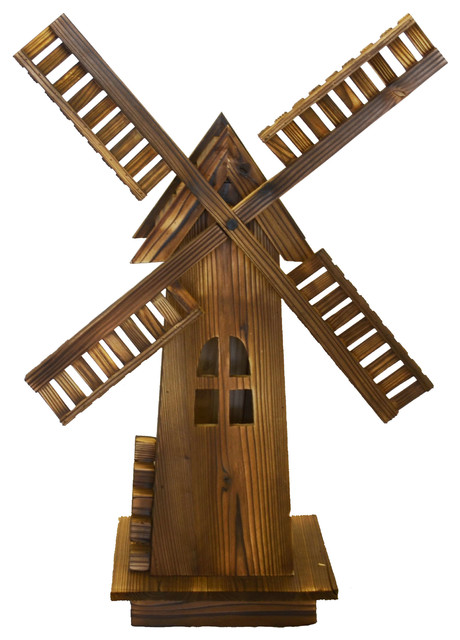 Classic Old Fashioned Wooden Dutch Windmill Traditional