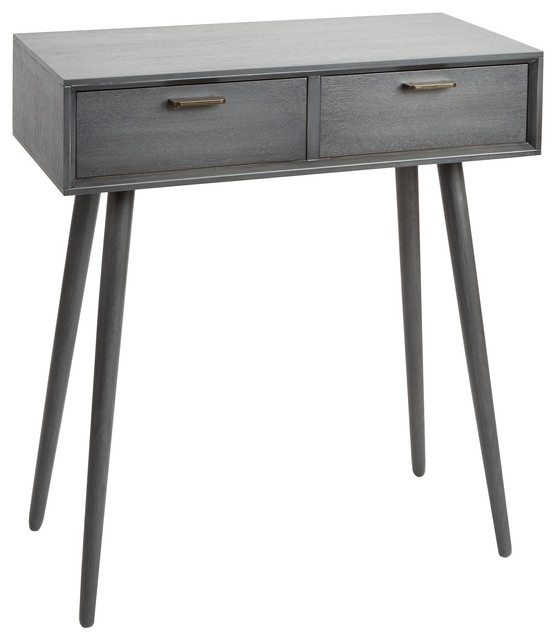 Olsen Mid-Century 2-Drawer Console Table, Gunmetal