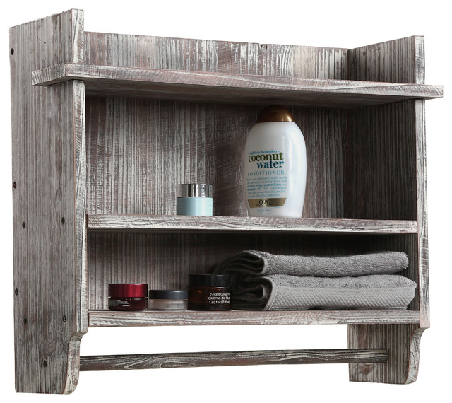Wall Mounted Wood Bathroom Organizer Rack With 3 Shelves And Towel Bar Farmhouse By Mygift