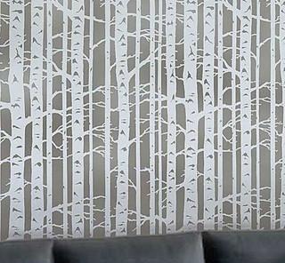Birch Forest Stencil Allover - Reusable Stencils for Walls ...