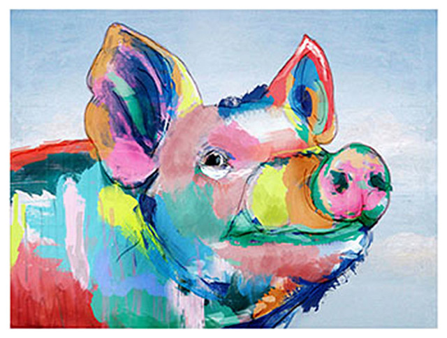 "Barney Colorful Pig Canvas Wall Art 40x30""."