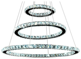 "3 Circle Diamond Ring LED Crystal Chandelier Light Modern Pendant (32""Wx32"")"