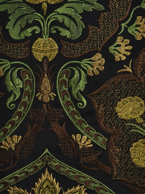 Black Embroidered Floral Faux Silk Fabrics