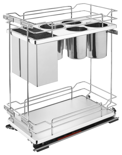 "8"" Two Tier Pull Out Wire Organizer With Knife Block, Gray."
