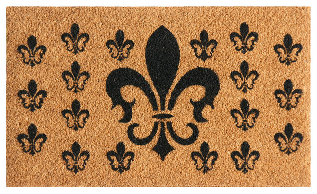 French Coat Of Arms, Fleur-De-Lis Doormat, 24x56.75.