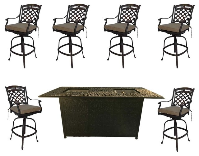7 Piece Bar Height Propane Fire Pit, Bar Height Patio Table With Fire Pit