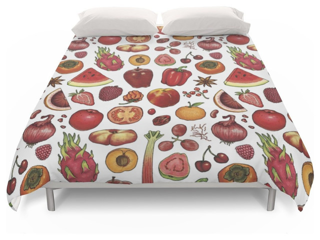 Society6 Red Food Duvet Covers Farmhouse Duvet Covers