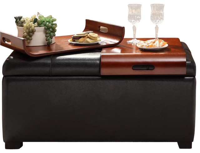 Storage Ottoman With Trays Espresso Contemporary Footstools