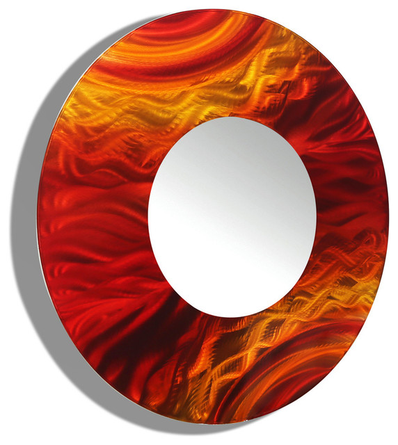 Red Wall Mirror red and orange contemporary round wall mirror 116jon allen