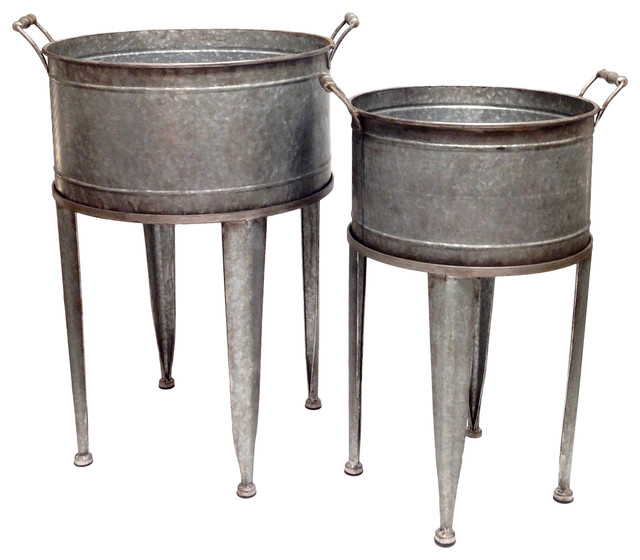 Set Of 2 Galvanized Tin Washtub Beverage Buckets On Stands.