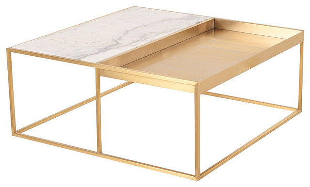 Corbett Square Coffee Table Gold Coffee Table Modern White