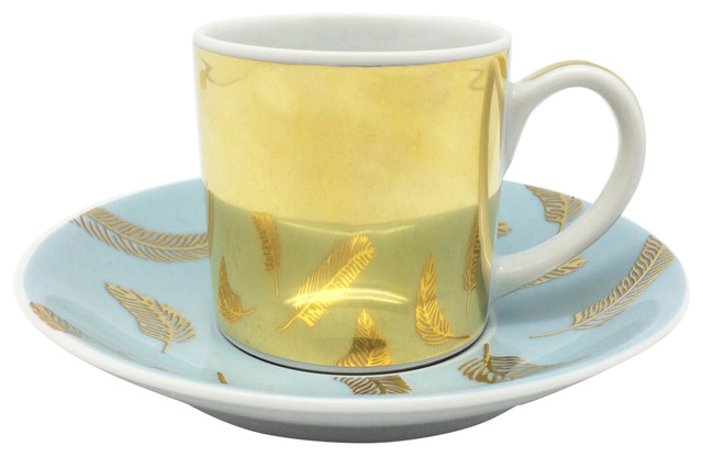 Gold Finish Espresso Cup With Saucer