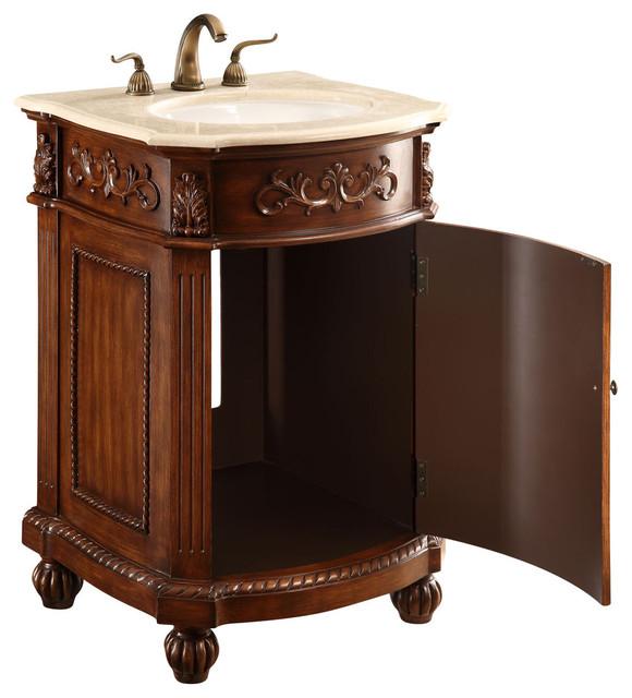 """Lulu 1-Door Vanity Cabinet, 24"""", Brown"""