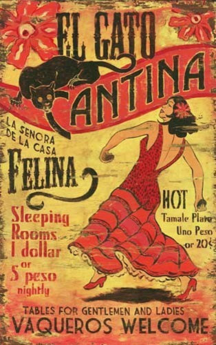 Vintage Signs El Gato Retro Mexican Cantina Sign Midcentury Prints And Posters By My Barnwood Frames