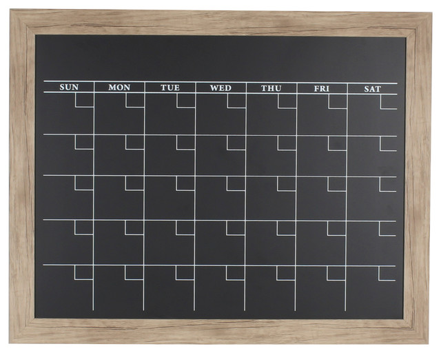 Beatrice Rustic Brown Framed Magnetic Chalkboard Calendar