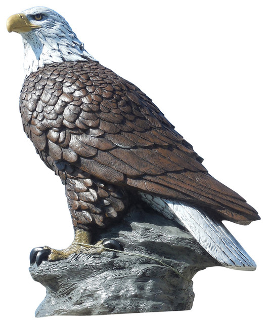 Magnificent Eagle Concrete Statue In Detail Painted Finish Traditional  Garden Statues And
