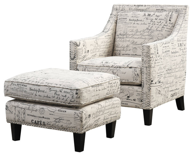 Emery Chair And Ottoman French Script Transitional