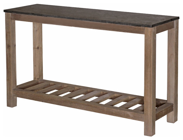 Haverly Rustic Lodge Natural Elm Blue Stone Top Console Table Rustic Console  Tables