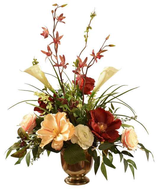 Magnolia Rose And Orchid Silk Flower Arrangement Traditional