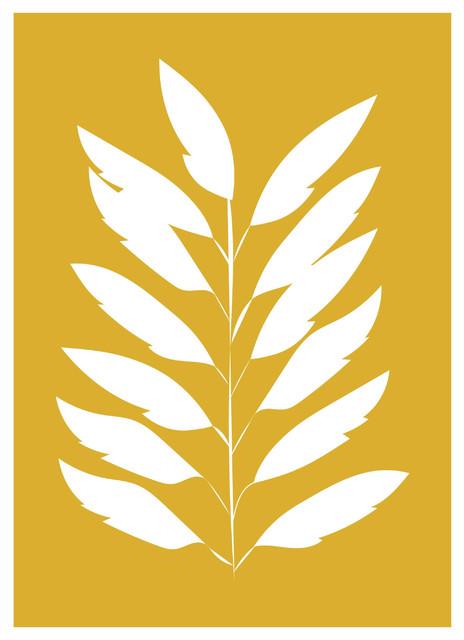 Minimalist Leaves Print, Scandinavian Style, Mustard and White, A4