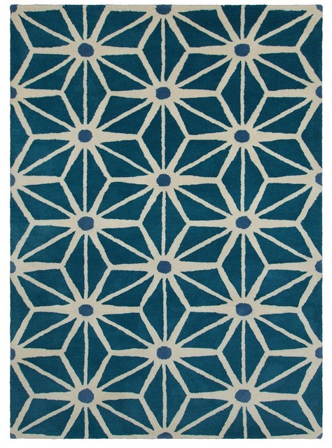 Contemporary Davin 7u0027x10u0027 Rectangle Blue Green Area Rug Contemporary Area