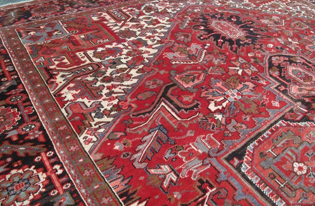 Consigned Persian 11 X 14 Area Rug Heriz Hand Knotted Wool Rug