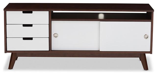 Alphard Two-tone Finish Wood TV Cabinet, Dark Walnut And White - Midcentury - Entertainment ...
