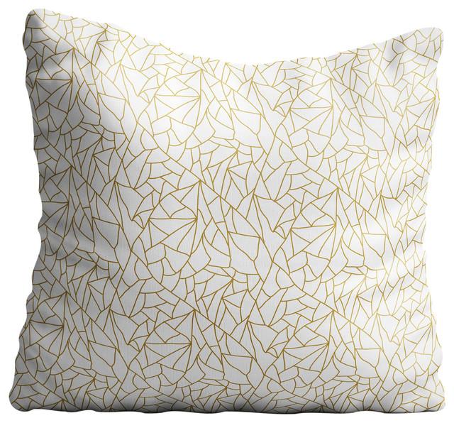 White Gold Abstract Throw Pillow Case