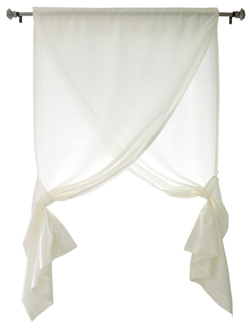 Faux Silk Overlapping Curtain, Ivory.