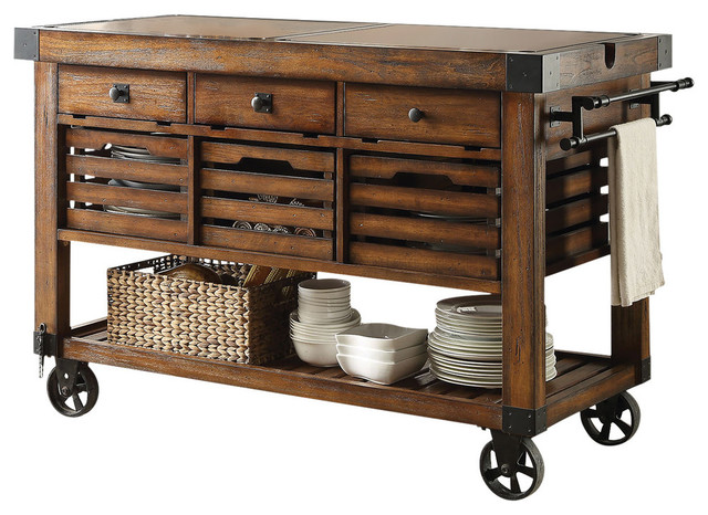 Kaif Cart, Distress Chestnut Finish industrial-kitchen-islands-and-kitchen-