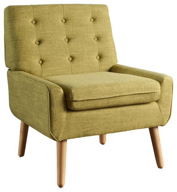 GDF Studio Eonna Buttoned Mid Century Modern Fabric Armchair, Muted Green