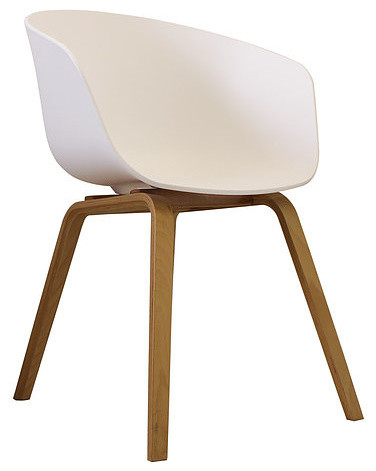 Danish Style Dining Arm Chair, Natural Legs, White