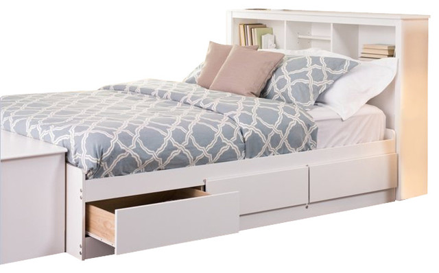 prepac monterey platform storage bed white double full